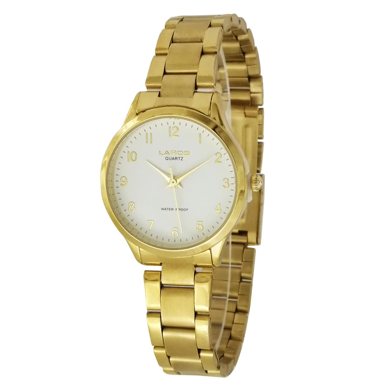 ساعت مچی عقربه ای زنانه لاروس مدل  0118-80206 به همراه دستمال مخصوص برند کلین واچ