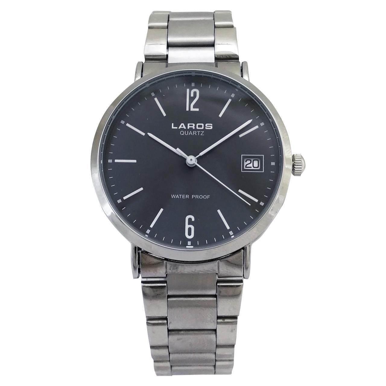 ساعت مچی عقربه ای مردانه لاروس مدل  1117-80131-d به همراه دستمال مخصوص برند کلین واچ