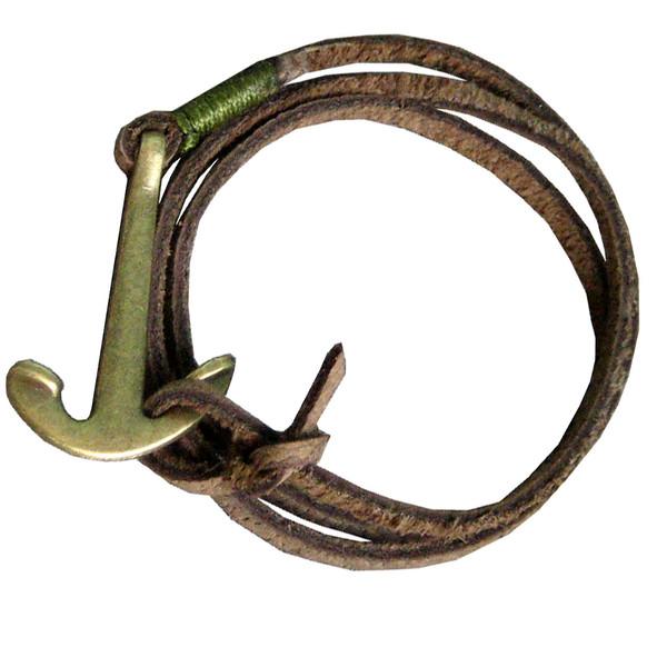 دستبند چرم دانوب طرح لنگر کد 001 سایز Free Size