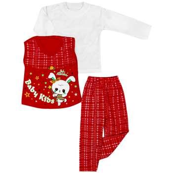 ست 3 تکه لباس راحتی دخترانه مدل Loveraisi رنگ قرمز |