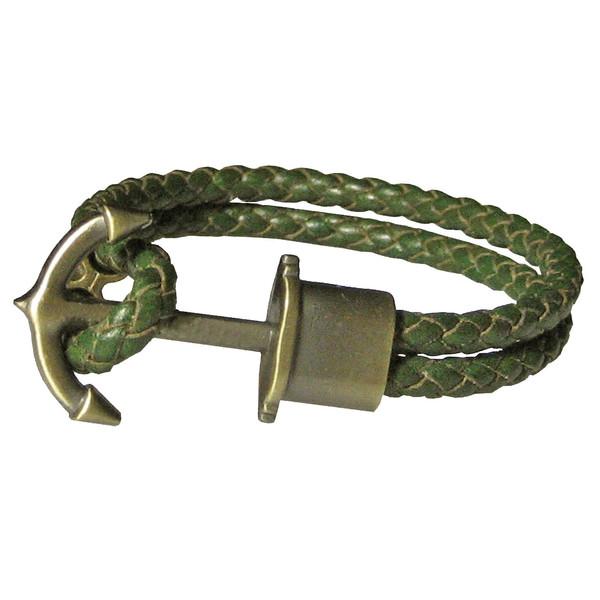 دستبند چرم طبیعی دانوب طرح لنگر کد 003 سایز L