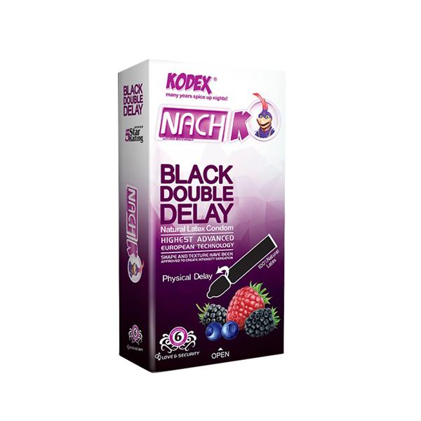 قیمت کاندوم ناچ کدکس مدل BLACK DOUBLE DELAY بسته 6 عددی