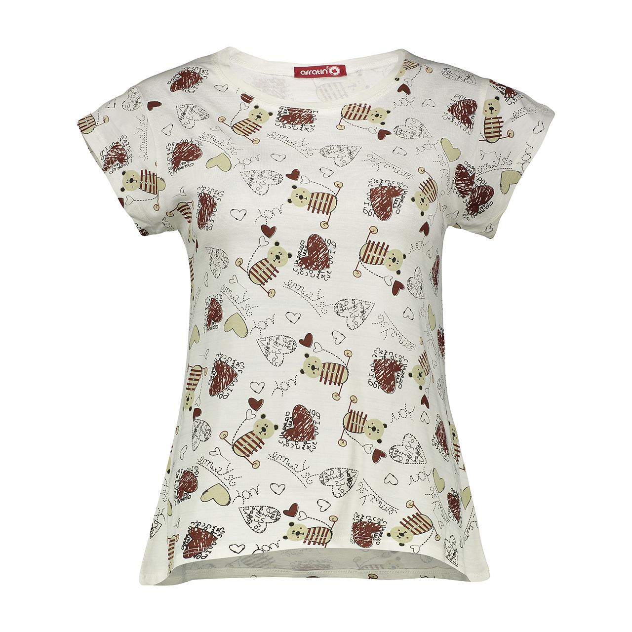 تی شرت زنانه افراتین طرح خرسی کد 2252