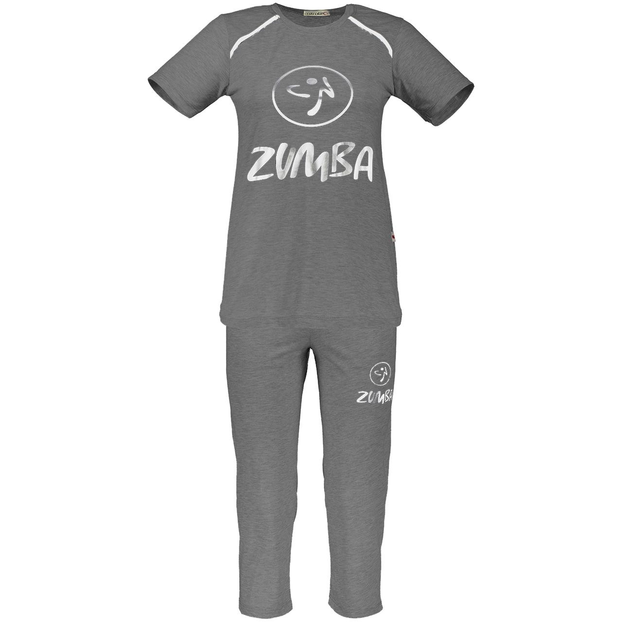 خرید                                      ست تی شرت و شلوار زنانه افراتین مدل 2234 zumba رنگ طوسی تیره