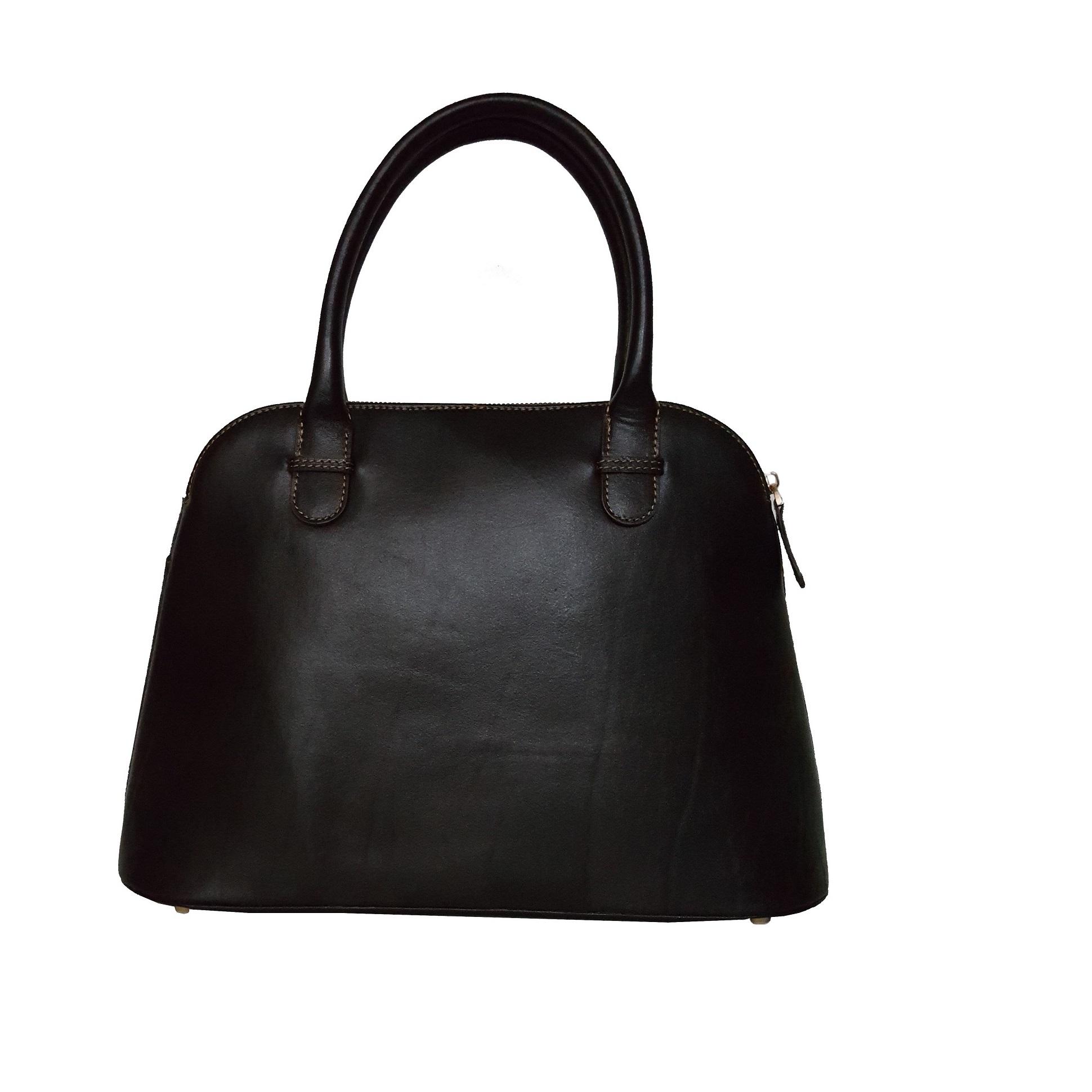 کیف دستی زنانه چرم طبیعی مدل 3003 رنگ قهوه ای تیره