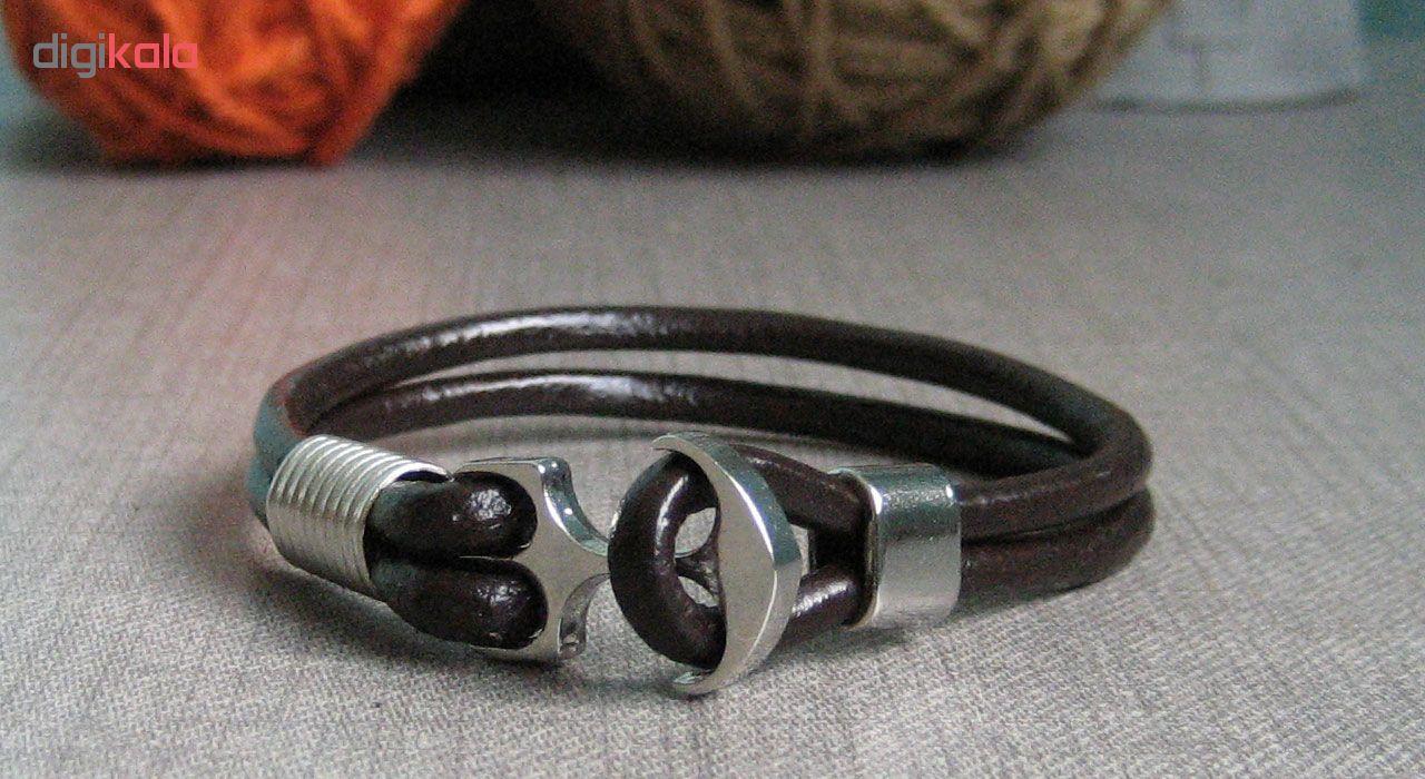 دستبند چرم  طبیعی دانوب طرح لنگر کد 002