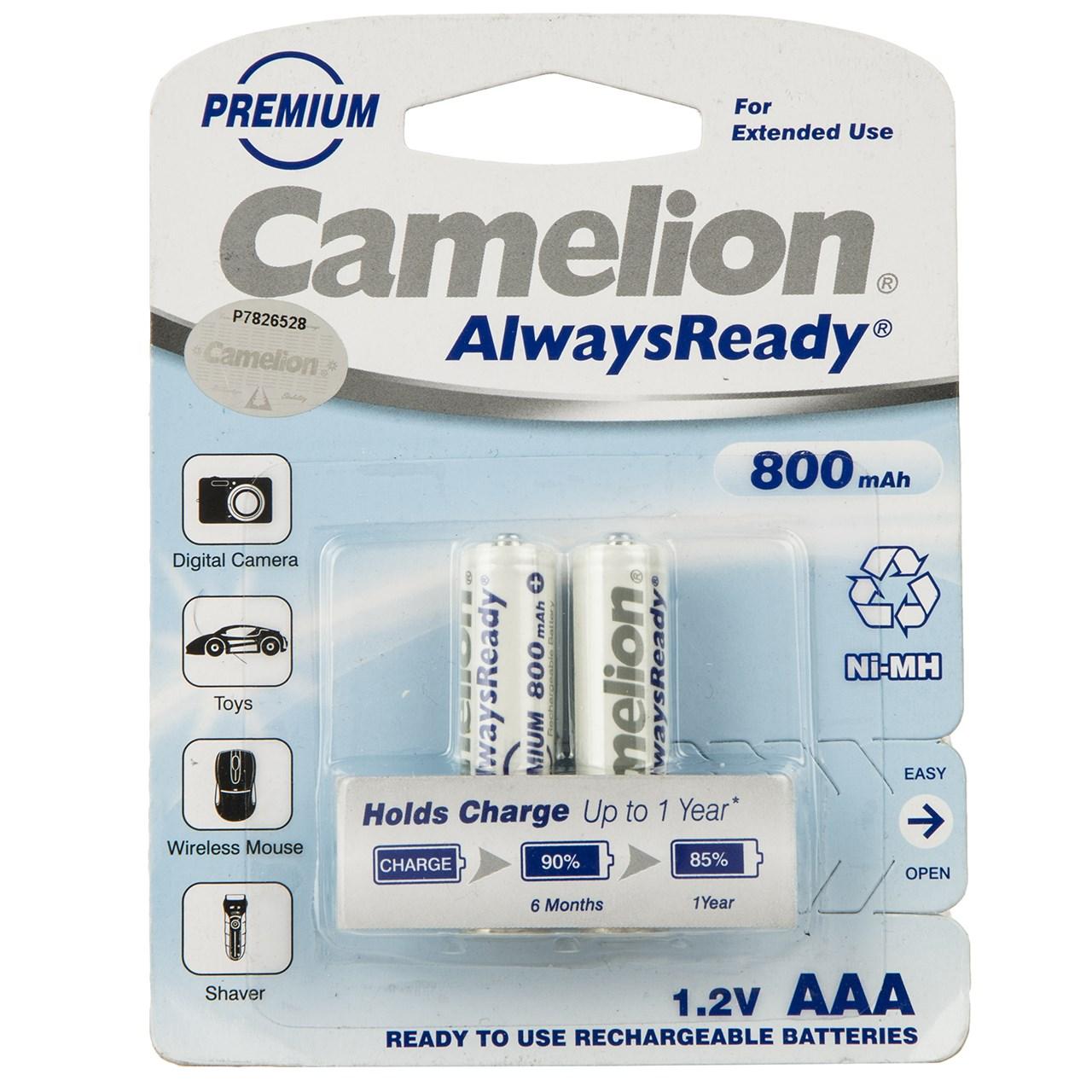باتری نیم قلمی قابل شارژ کملیون مدل AlwaysReady ظرفیت 800 میلی آمپر ساعت بسته 2 عددی