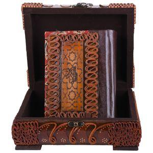 جعبه قرآنی  پایاچرم طرح چرم و ترمه مدل 00-05 سایز متوسط