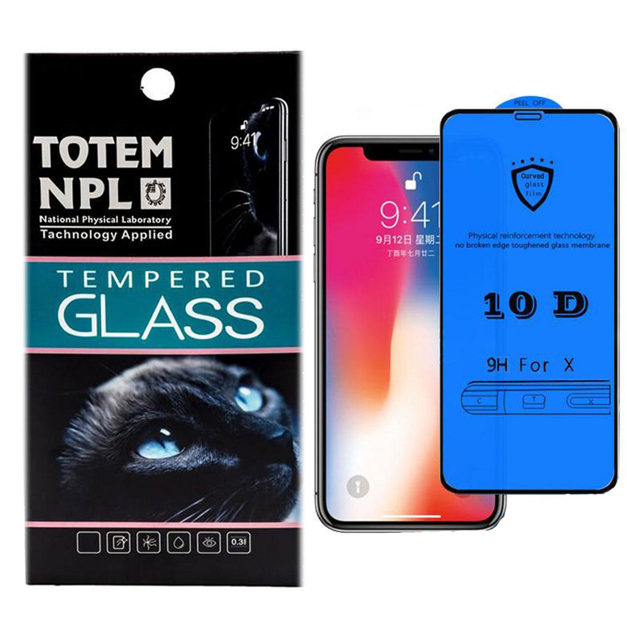 محافظ صفحه نمایش شیشه ای توتم مدل 10D Fullcover مناسب برای گوشی  موبایل Apple Iphone X/10