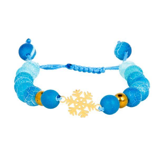 دستبند نوژین مدل برف کریسمس آبی