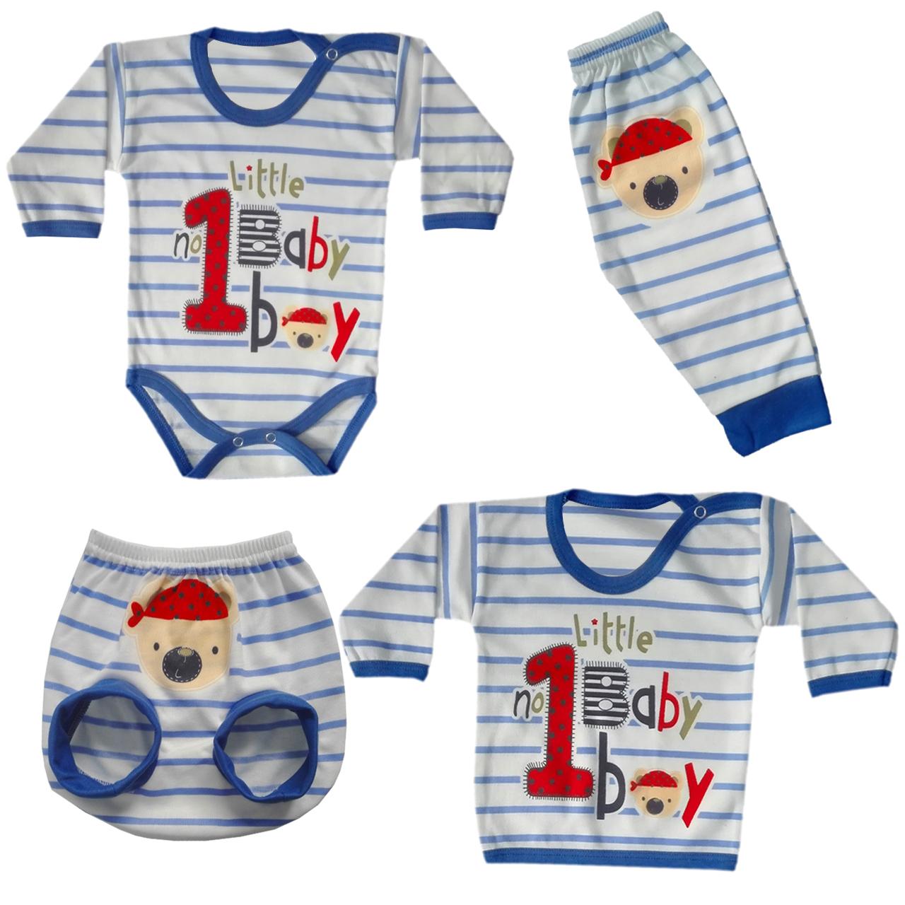 ست 4 تکه لباس نوزادی پسرانه  مدل 5002