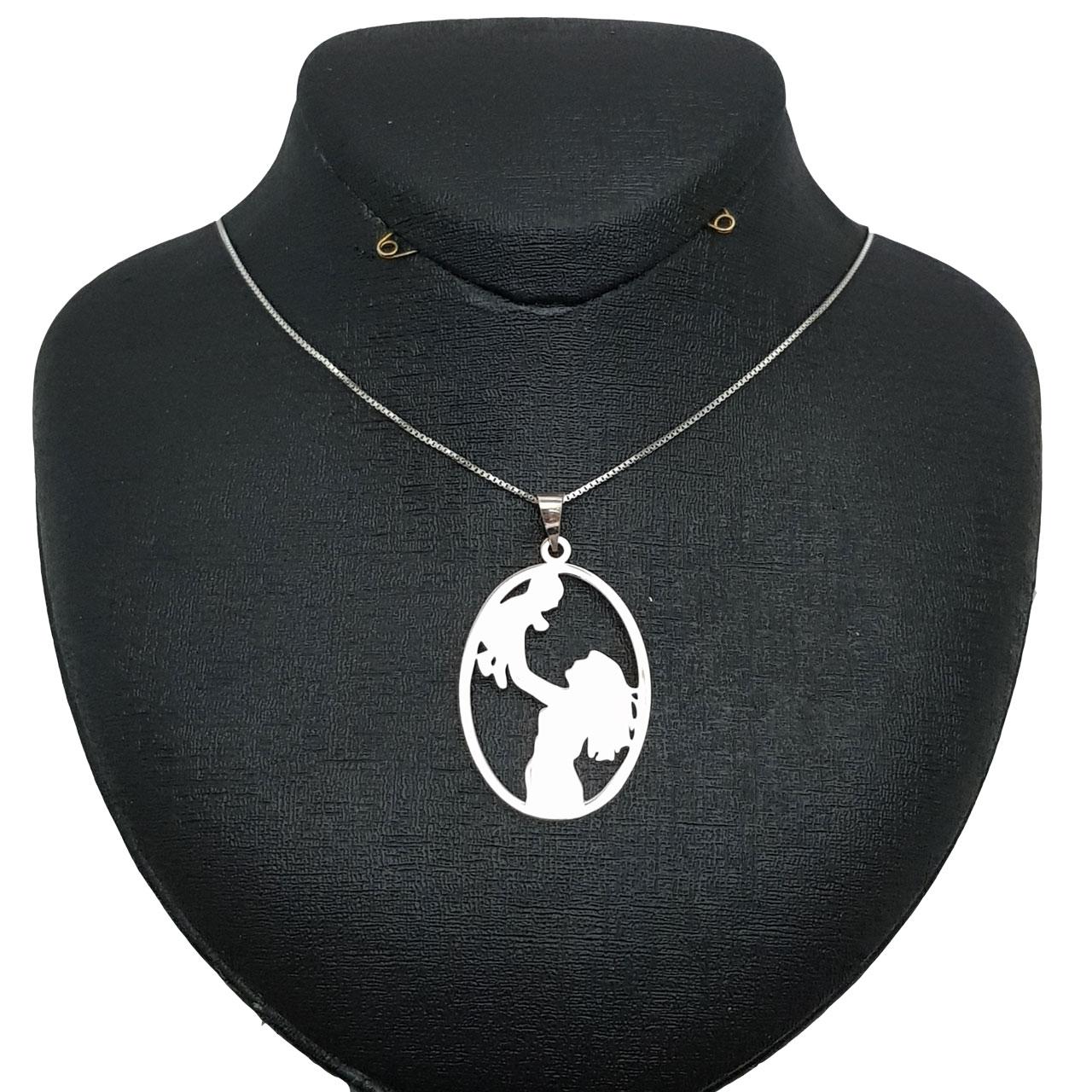 گردنبند نقره زنانه طرح مادر و نوزاد کد ۰۰۱