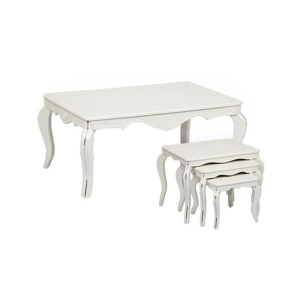 میز جلو مبلی  نگین مدل classic 010 به همراه میز عسلی مجموعه 4 عددی