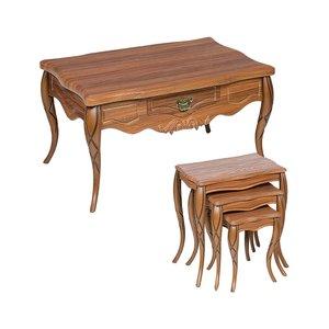 میز جلو مبلی مدل classic n019 به همراه میز عسلی مجموعه 4 عددی