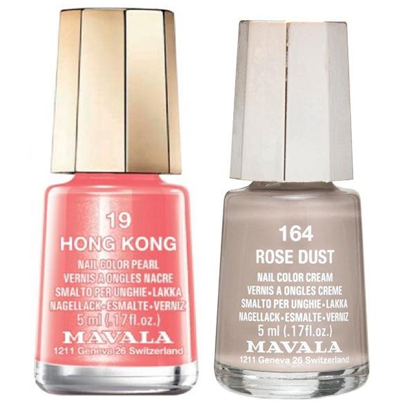 قیمت لاک ناخن ماوالا مدل  Hong kong شماره 19 به همراه لاک ناخن ماوالا مدل Rose dust  شماره 164