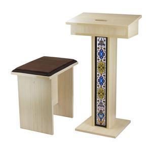 صندلی و میز نماز تمام MDF مدل IKEA ISLAMIC M-2019 با طرح کاشی کاری مسجدی به همراه بالشتک نشیمن
