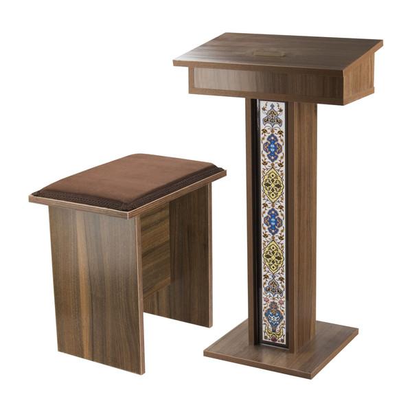 صندلی و میز نماز تمام MDF مدل IKEA ISLAMIC K-2019 با طرح کاشی کاری مسجدی به همراه بالشتک نشیمن