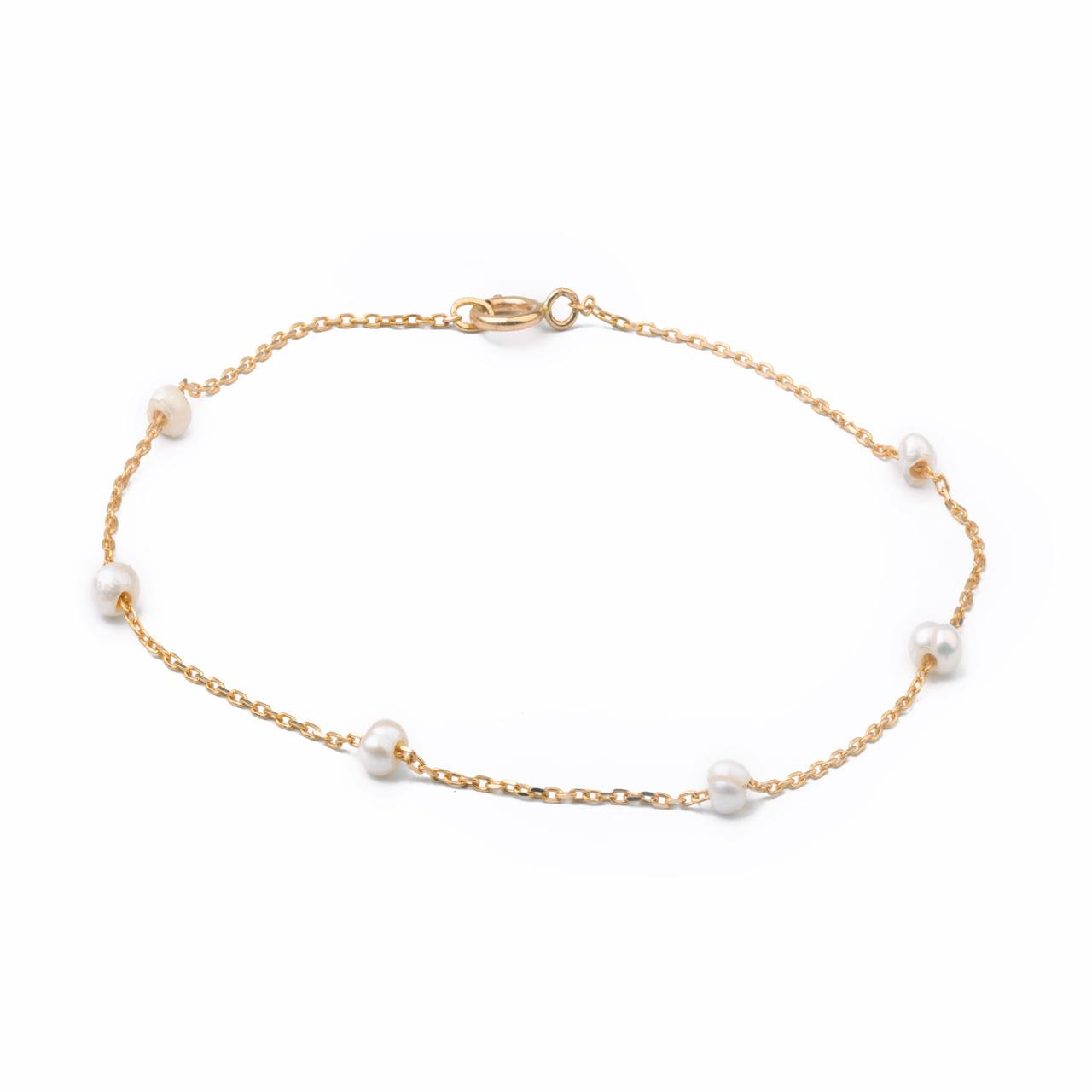 قیمت دستبند طلا 18 عیار گالری فرنود طرح مروارید مدل BP21