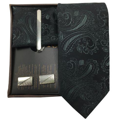 ست کراوات گیره دستمال و دکمه سردست هکس ایران مدل SET-TURK BLK2