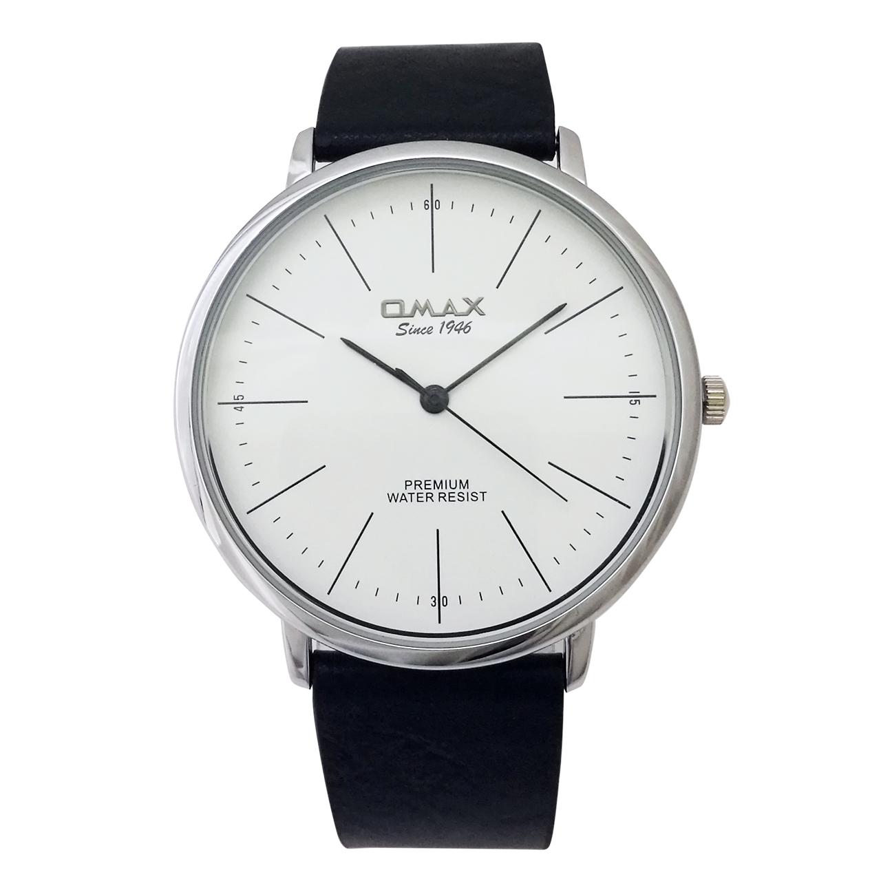 ساعت مچی عقربه ای مردانه اوماکس مدل CC9019 به همراه دستمال مخصوص برند کلین واچ