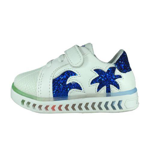 کفش نوزادی پا.ریس.جامه مدل چراغدار B458 رنگ سفید آبی