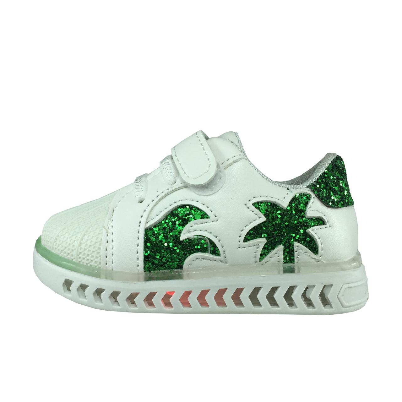 کفش نوزادی پا.ریس.جامه مدل چراغدار B459 رنگ سفید سبز