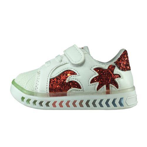 کفش نوزادی پا.ریس.جامه مدل چراغدار B460 رنگ سفید قرمز
