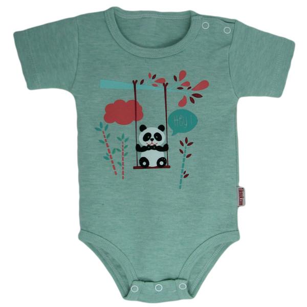 زیر دکمه دار آستین کوتاه نوزادی پسرانه تیک مک مدل panda