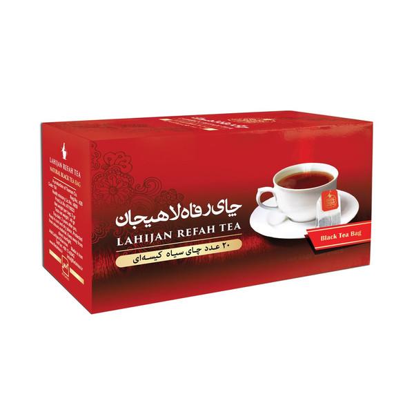چای سیاه کیسه ای رفاه لاهیجان مدل سیاه طلایی بسته 20 عددی