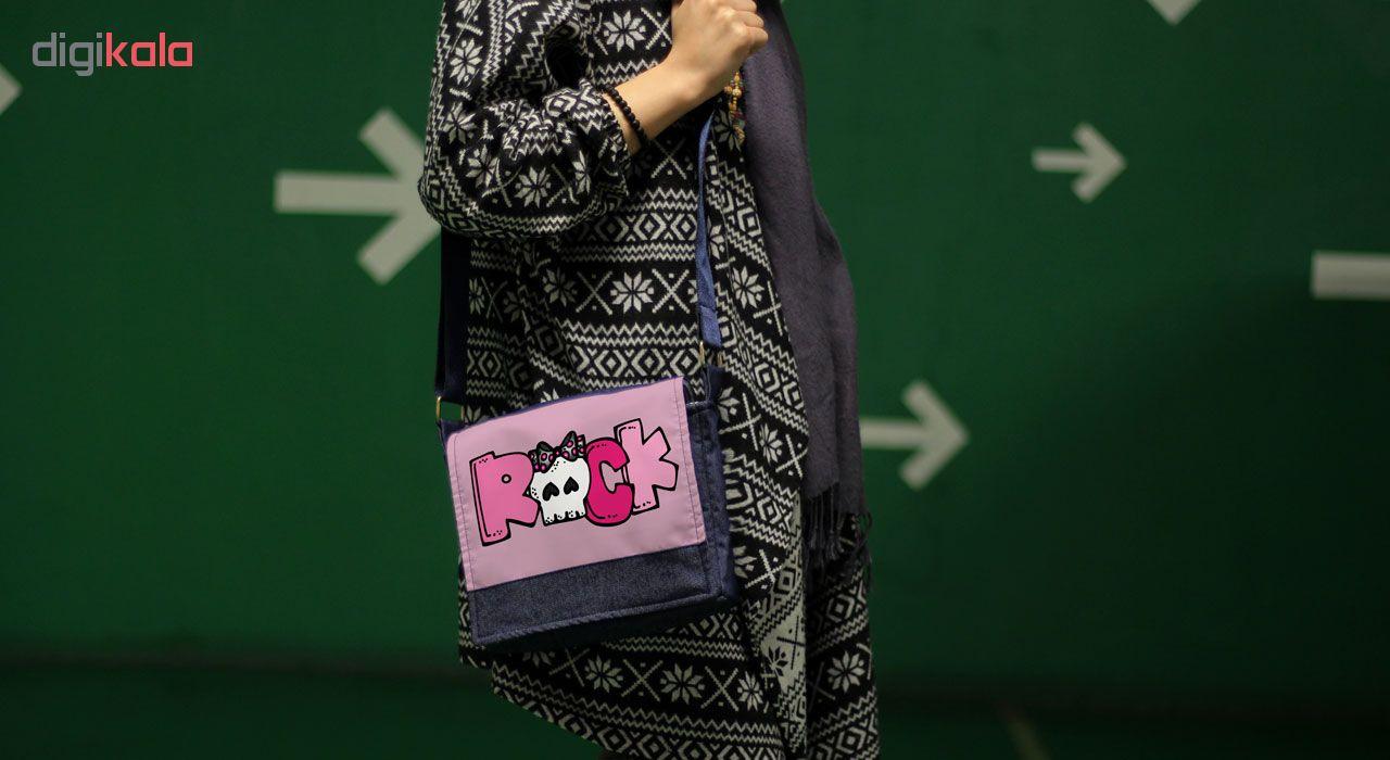 کیف رودوشی دخترانه گالری چی چاپ طرح  راک