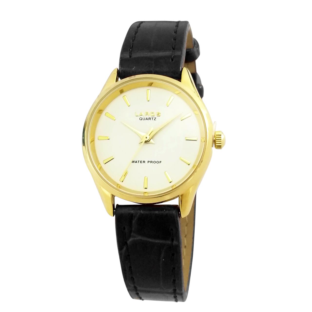 ساعت مچی عقربه ای زنانه لاروس مدل 0118-80200-s به همراه دستمال مخصوص برند کلین واچ