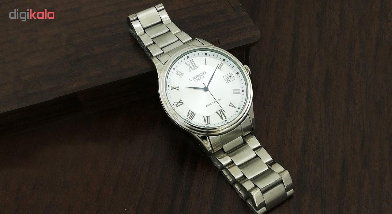 ساعت مچی عقربه ای مردانه لاروس مدل 0817-80071-d به همراه دستمال مخصوص برند کلین واچ