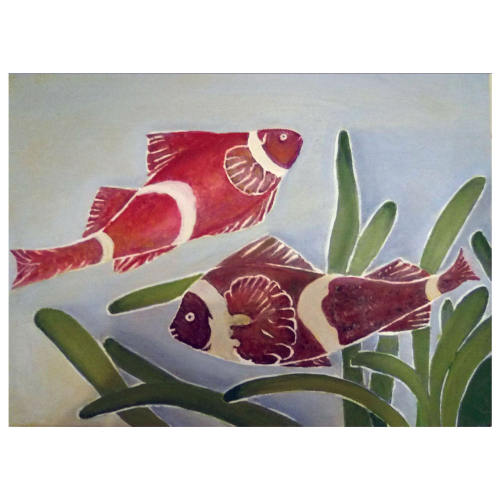 تابلو نقاشی رنگ روغن طرح ماهی