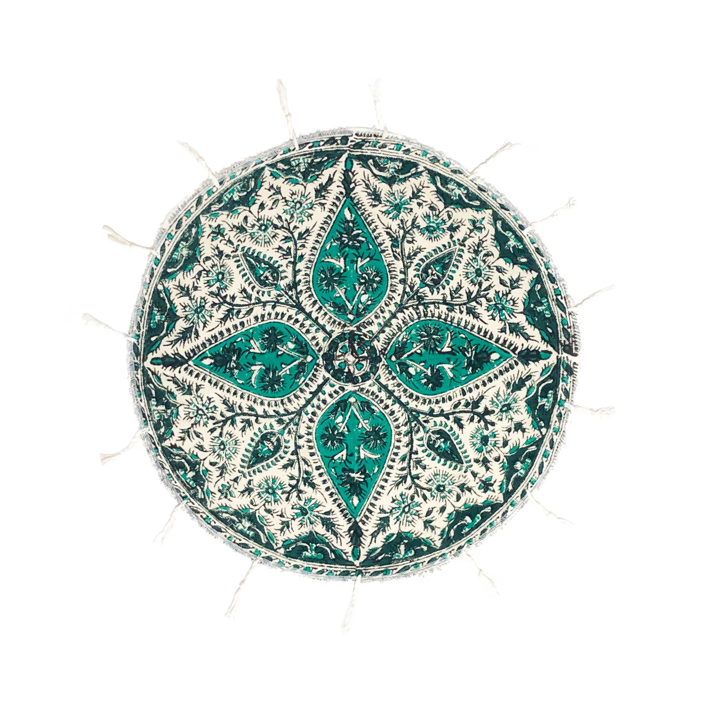 رومیزی قلمکار ممتاز اصفهان اثر عطريان طرح گل مدل G175 قطر 40 سانتي متر