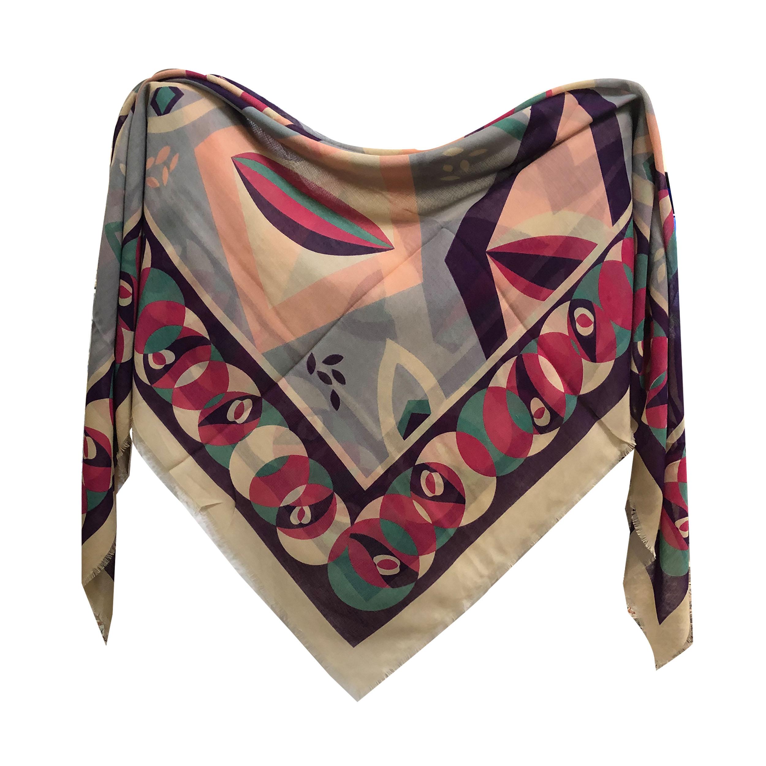 روسری زنانه نخی ریشه پرزی قواره 140 کد 3000