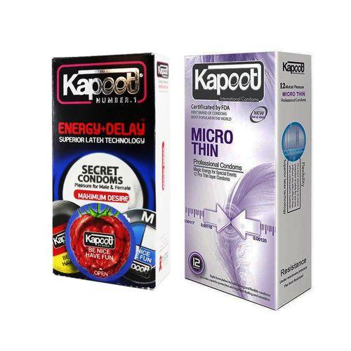 کاندوم کاپوت مدل Micro Thin بسته 12 عددی به همراه کاندوم کاپوت مدل Energy Delay بسته 12 عددی