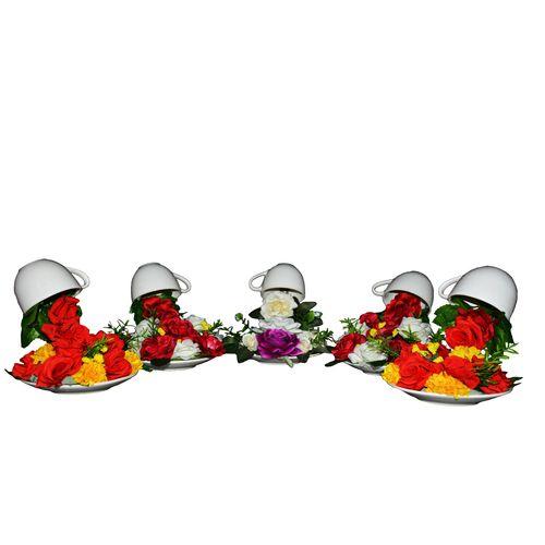 گلدان و گل مصنوعی طرح آبشار 6 مجموعه 5 عددی