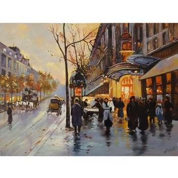 تابلو رنگ روغن طرح خیابان فرانسه کد 106