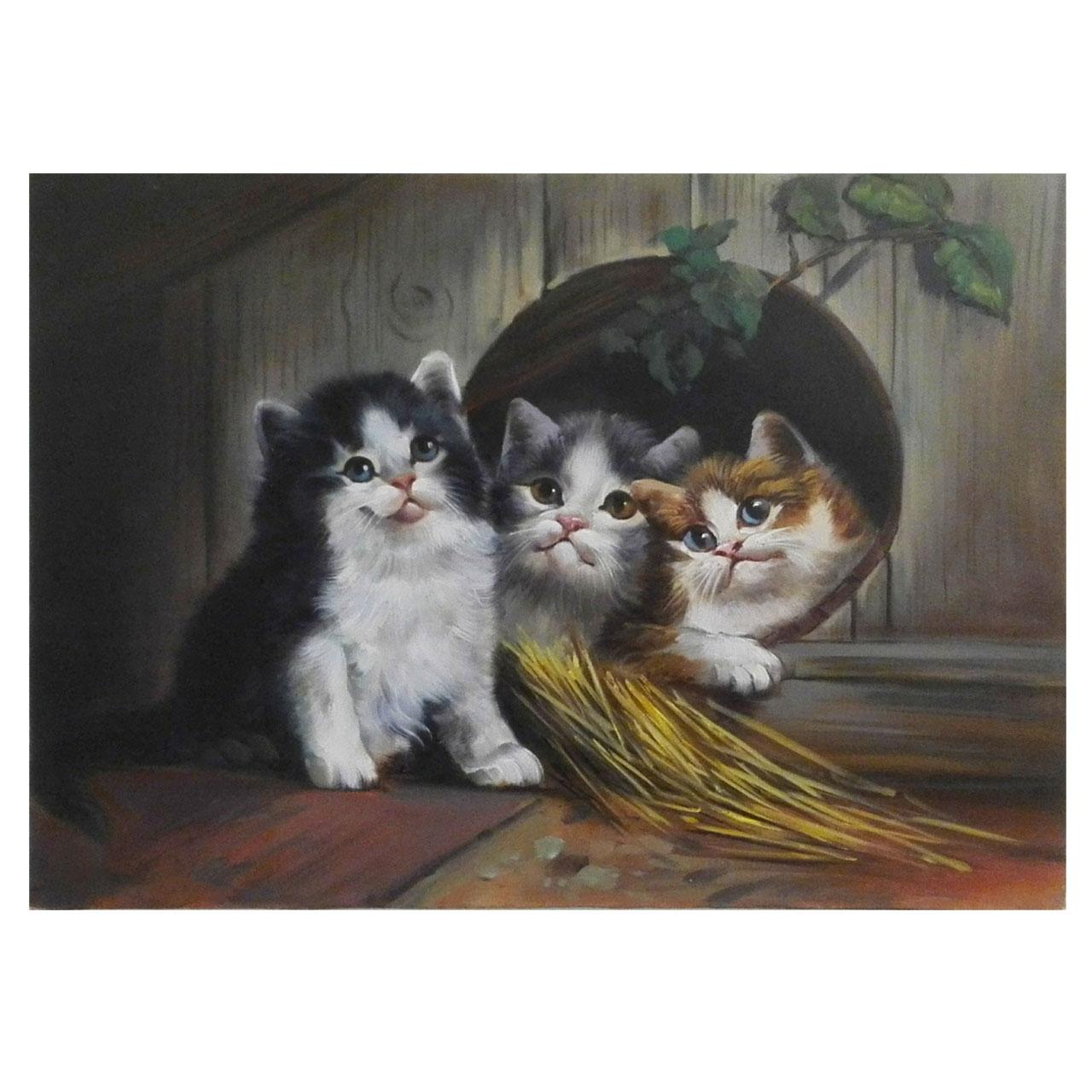 تابلو نقاشی رنگ روغن طرح بچه گربه مدل 3001