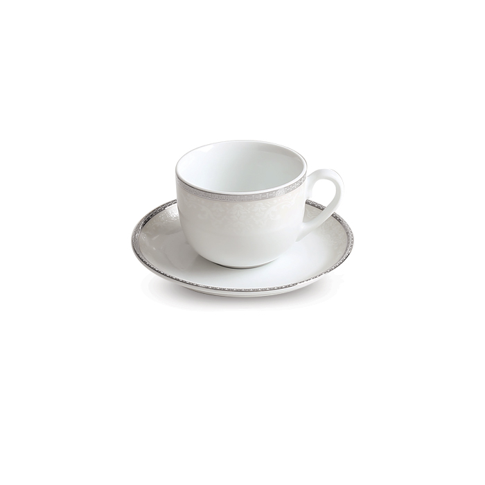 عکس سرویس چای خوری 12 پارچه چینی زرین ایران سری ایتالیا اف مدل ریوا پلاتینی