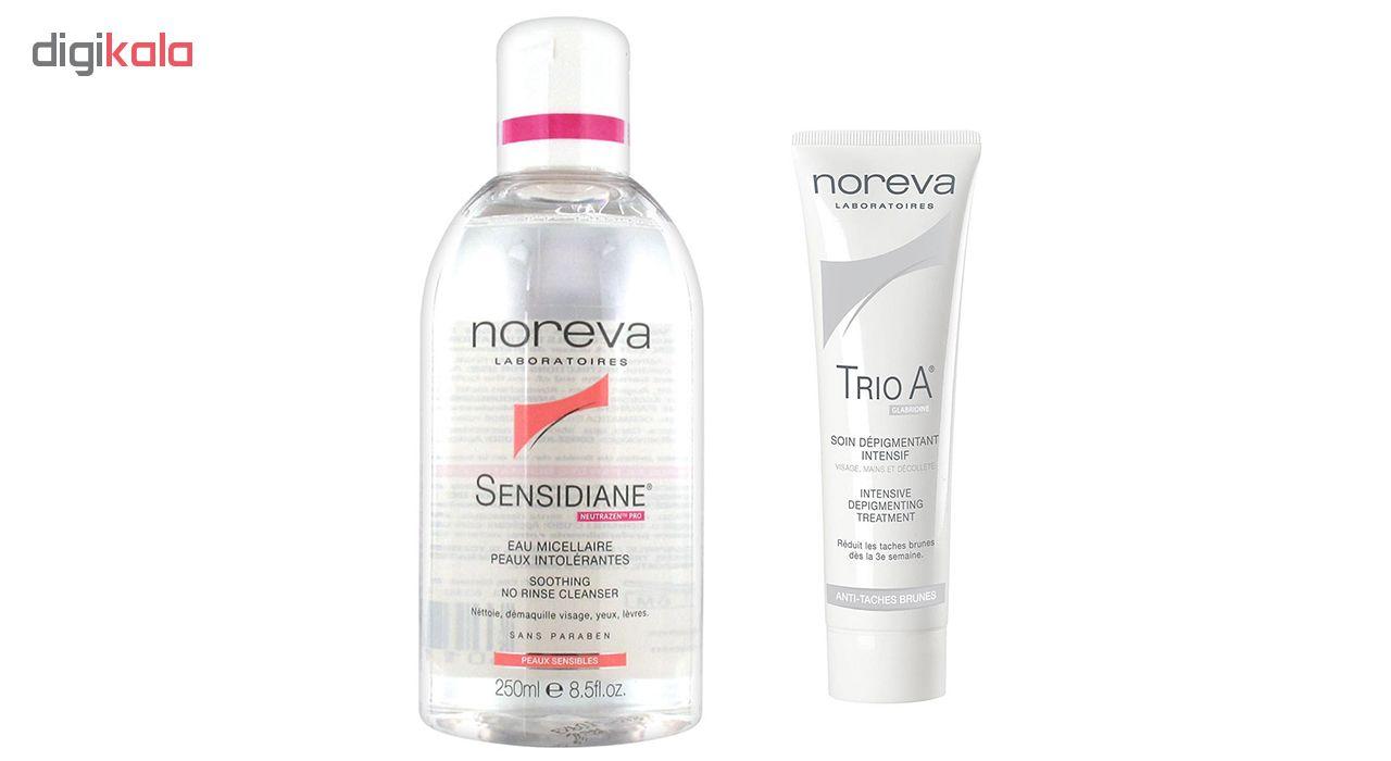محلول پاک کننده صورت نوروا مدل Sensidiane به همراه ضد لک نوروا مدل Trio A