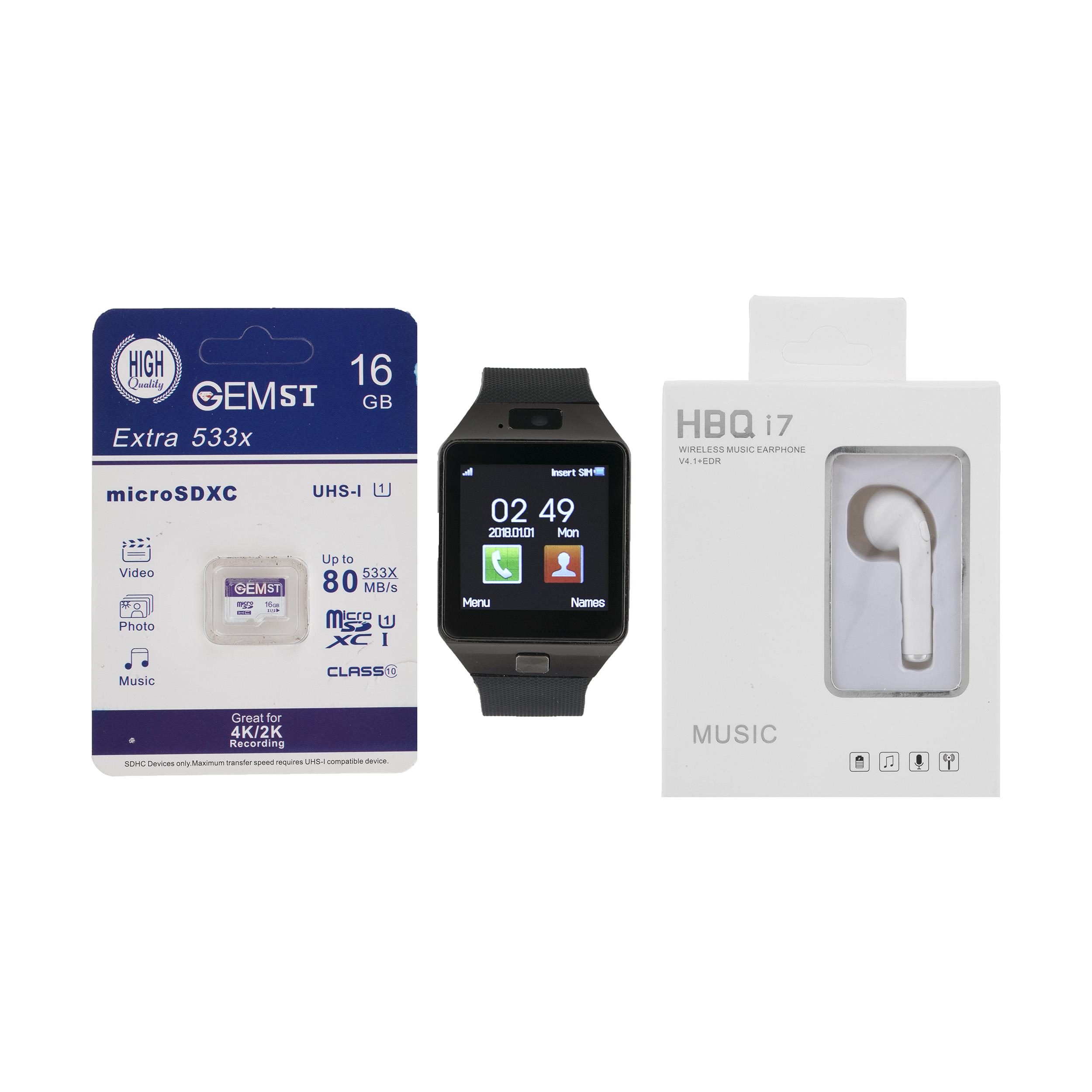 ساعت هوشمند اسمارت بیسون مدل SB-01 به همراه هندزفری اچ بی کیو مدل i7 و کارت حافظه 16 گیگابایتی