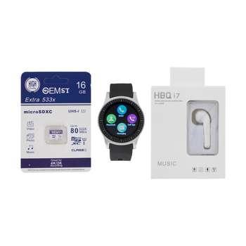 ساعت هوشمند جی تب مدل S1 به همراه هندزفری اچ بی کیو مدل i7 و کارت حافظه 16 گیگابایتی
