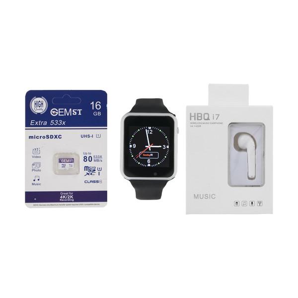 ساعت هوشمند جی-تب مدل W101 Hero به همراه هندزفری اچ بی کیو مدل i7 و کارت حافظه 16 گیگابایتی