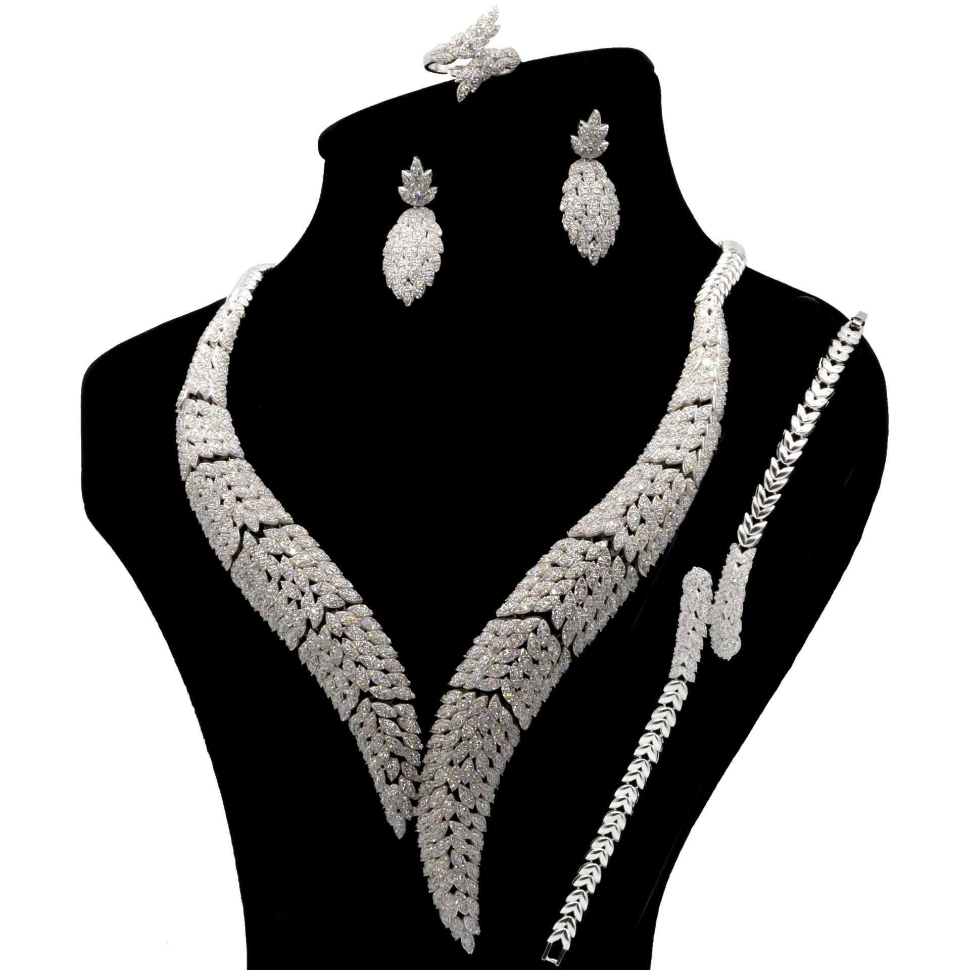 عکس ست نقره زنانه بهارگالری مدل Diamond Jewel کد S2