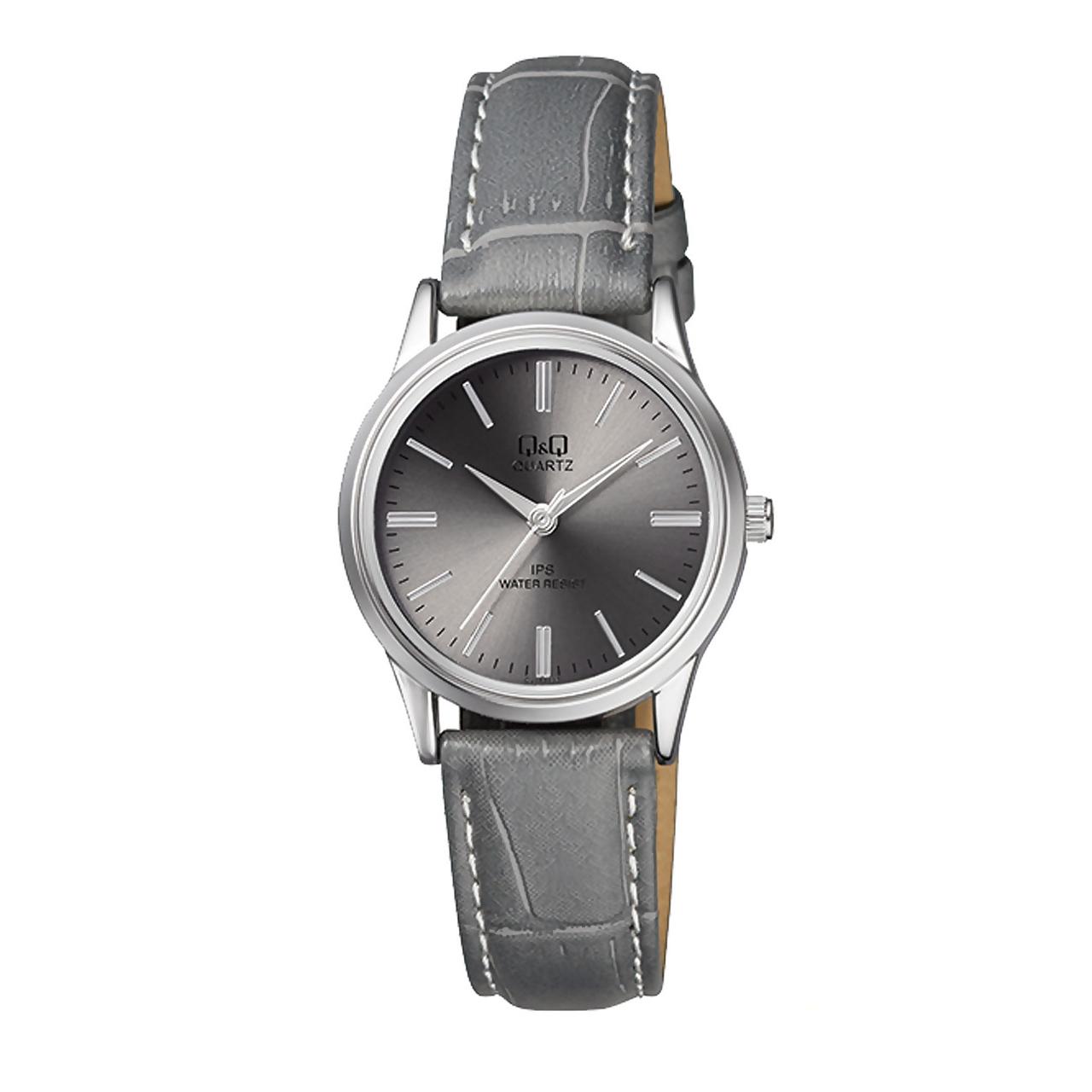 ساعت مچی عقربه ای زنانه کیو اند کیو مدل C215J322Y به همراه دستمال مخصوص برند کلین واچ