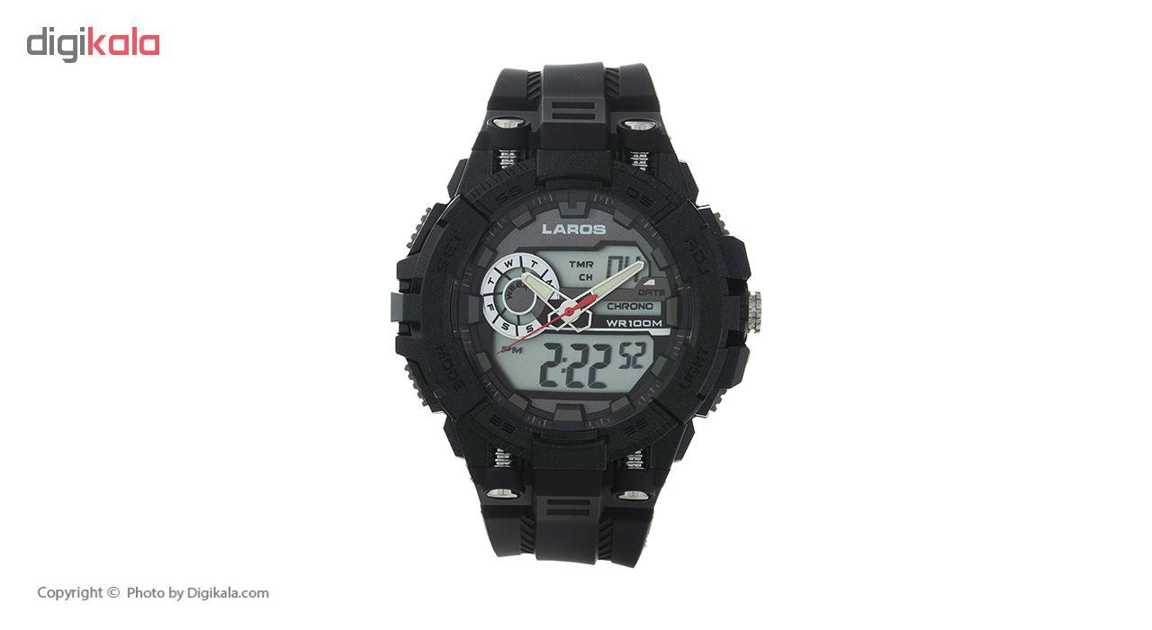 خرید ساعت مچی دیجیتال مردانه لاروس مدل AD1189-0318 به همراه دستمال مخصوص نانو برند کلیر واچ