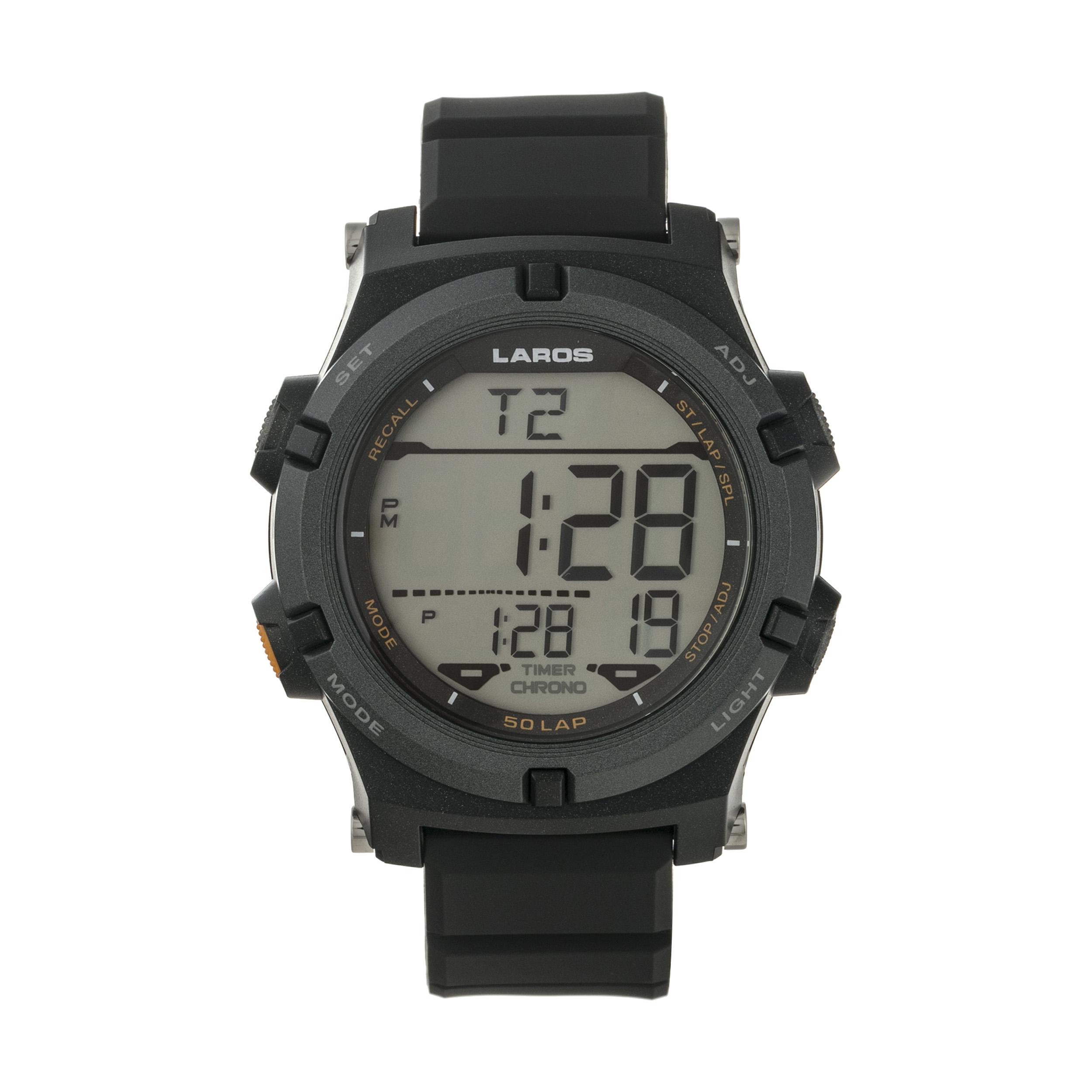 ساعت مچی دیجیتال مردانه لاروس مدل M1192-0318  به همراه دستمال مخصوص نانو برند کلیر واچ 40