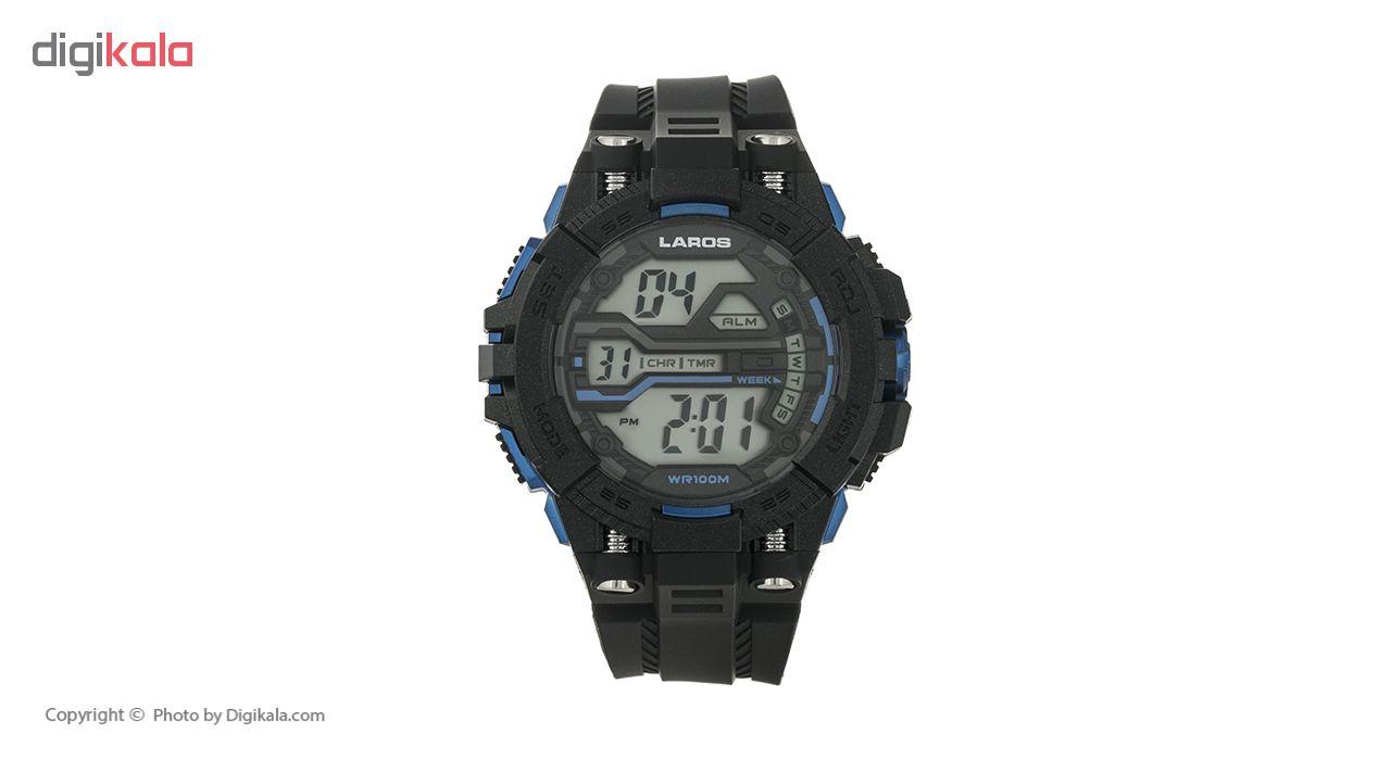 خرید ساعت مچی دیجیتال مردانه لاروس مدل M1189-0318 به همراه دستمال مخصوص نانو برند کلیر واچ