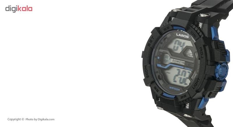 ساعت مچی دیجیتال مردانه لاروس مدل M1189-0318 به همراه دستمال مخصوص نانو برند کلیر واچ